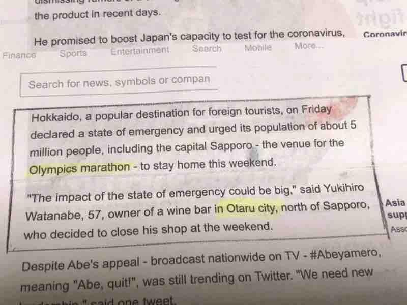 Hokkaido declared a state of emergency